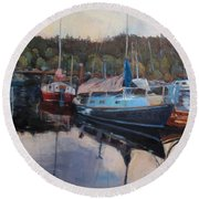 Boats At Dock Heriot Bay Inn Round Beach Towel
