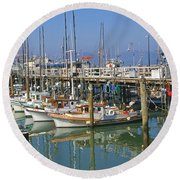 Boats At Fisherman Round Beach Towel
