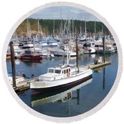 Boats At Friday Harbor Round Beach Towel