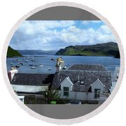 Boats At Portree Round Beach Towel