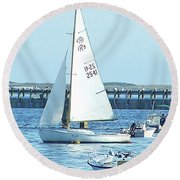 Boats At Provincetown Round Beach Towel