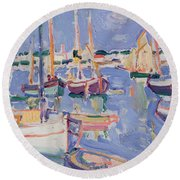 Boats At Royan Round Beach Towel