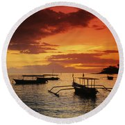 Boats At Senggigi Round Beach Towel