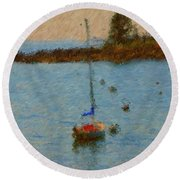 Boats At Smugglers Cove Boothbay Harbor Maine Round Beach Towel