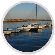 Boats At Sunset In Fuzeta Round Beach Towel