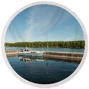 Boats At The Dock Round Beach Towel