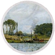 Boats At The Lock At Bougival Round Beach Towel