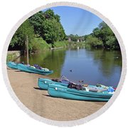 Boats At The Ready Round Beach Towel