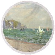 Boats Below The Cliffs At Pourville Round Beach Towel by Claude Monet