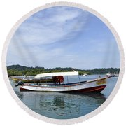 Boats Round Beach Towel