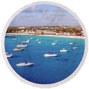 Boats  Grand Turk Round Beach Towel