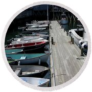 Boats In A Line Round Beach Towel