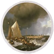 Boats In A Storm  Round Beach Towel