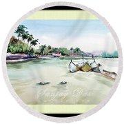 Boats In Beach Round Beach Towel