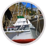 Boats In Drydock Round Beach Towel