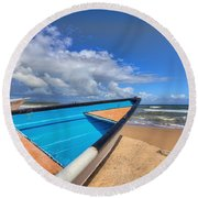 Boats In Mayaro Round Beach Towel