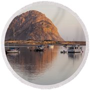 Boats In Morro Rock Reflection Round Beach Towel