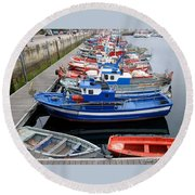 Boats In Norway Round Beach Towel