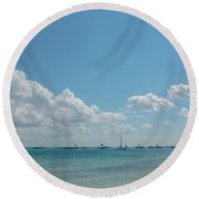 Boats In Shades Of Blue Round Beach Towel