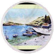Boats In Spain Round Beach Towel