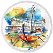 Boats In Tavira In Portugal 02 Round Beach Towel