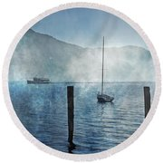 Boats In The Fog Round Beach Towel by Joana Kruse