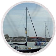 Boats In The Inlet Round Beach Towel
