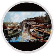 Boats In The Slough Round Beach Towel