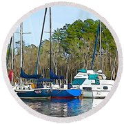 Boats In The Water Round Beach Towel