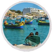 Boats Lovers Round Beach Towel
