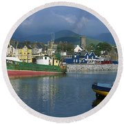 Boats Moored At A Harbor, Dingle Round Beach Towel