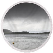 Boats Moored In The Harbor Oban Round Beach Towel