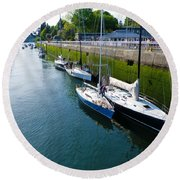 Boats Moving Into Chittenden Locks Seattle Round Beach Towel