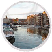 Boats Of Amsterdam Round Beach Towel