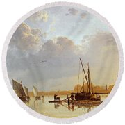 Boats On A River Round Beach Towel