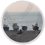 Boats On Beach Round Beach Towel