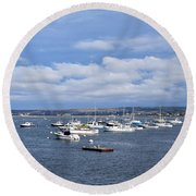 Boats On Blue Water Round Beach Towel