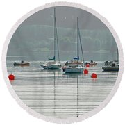 Boats On Carsington Water Round Beach Towel