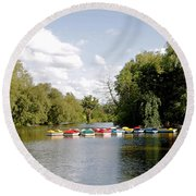 Boats On Markeaton Lake Round Beach Towel