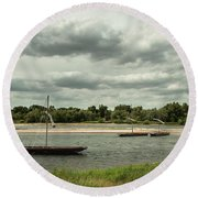 Boats On River Loire - France Round Beach Towel