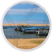 Boats On Silver Lake Michigan Round Beach Towel