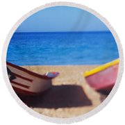 Boats On The Beach, Aguadilla, Puerto Round Beach Towel
