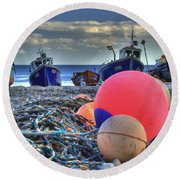 Boats On The Beach At Beer Round Beach Towel