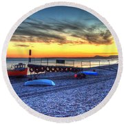 Boats On The Beach At Branscombe  Round Beach Towel
