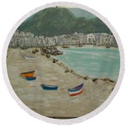 Boats On The Beach In Spain Round Beach Towel