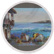 Boats On The Cost Round Beach Towel