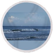 Boats On The Horizon Round Beach Towel