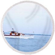 Boats On The Lake - 003 Round Beach Towel
