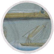 Boats On The Nile Round Beach Towel