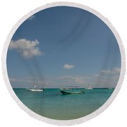 Boats On The Ocean Round Beach Towel